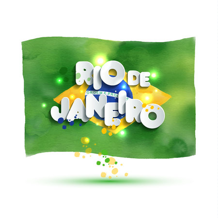 Bright vector illustration on colors flag of Brazil. Carnival,spring, text of paper style. Rio de Janeiro.