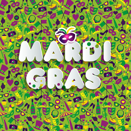 Bright illustration on seamless texture and sign Mardi gras. Carnival.