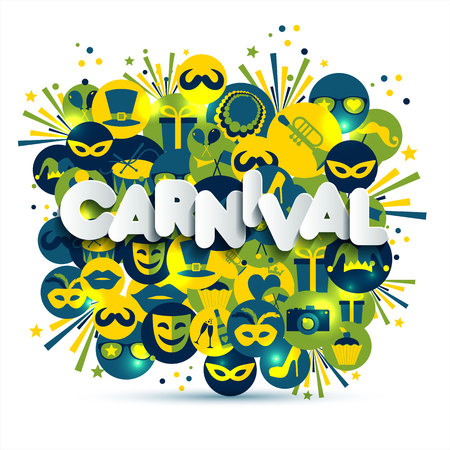 Bright vector carnival and sign Carnival illustration on multicolors icons. Ilustração