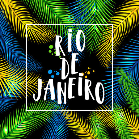 Illustration of Rio de Janeiro from Brazil vacation of colors of the Brazilian flag, Brazil Carnival. Summer. Hand drawn lettering. Illustration