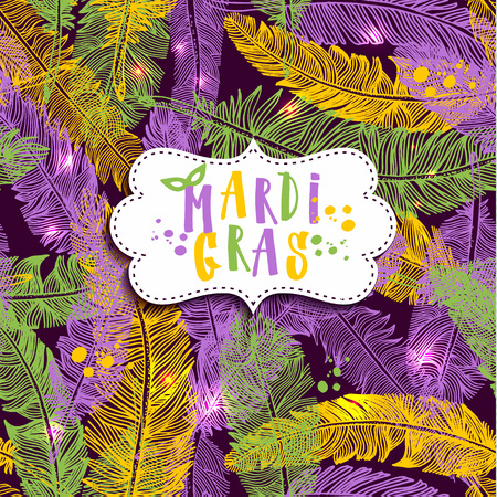 Seamless pattern with hand drawn Mardi Gras on feathers.