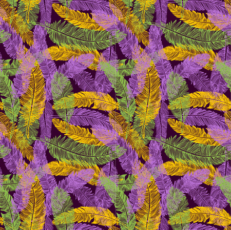 Hand drawn seamless pattern of feathers. Mardi gras color.