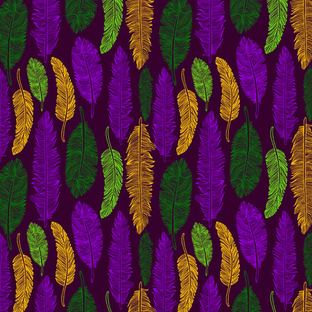 Hand drawn seamless pattern of feathers. Mardi gras colors.