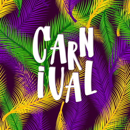Mardi gras invitation card on colors palm background Ilustração