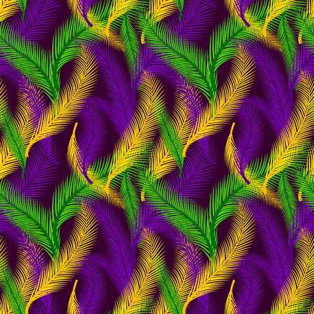 Nature seamless pattern of palms. Color of Mardi Gras. Çizim