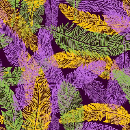 羽のシームレスなパターンを手描き。マルディグラの色の背景。  イラスト・ベクター素材