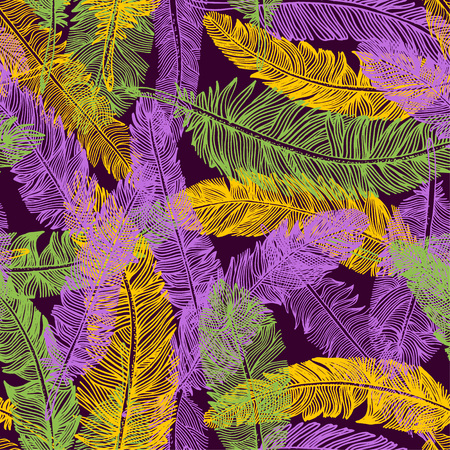 Hand drawn seamless pattern of feathers. Mardi gras colors background.