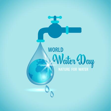 Illustration vectorielle du robinet d'eau avec le globe terrestre à l'intérieur de la goutte d'eau sur fond bleu Vecteurs