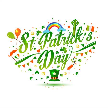 Set of st patricks day in green and orange Illustration
