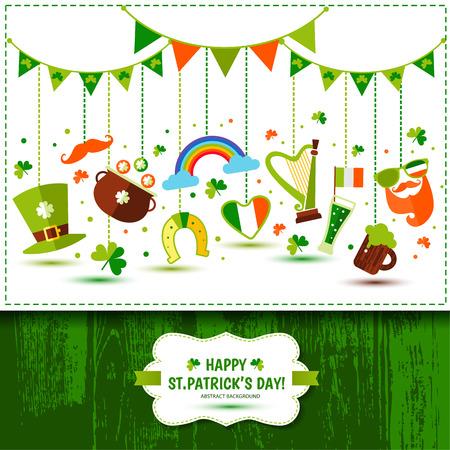 Set of icons of Saint Patricks Day flat style, like pot, leprechaun at and beer mug Ilustração