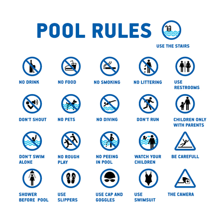 Swimming pool rules. Set of icons and symbol for pool. 版權商用圖片 - 95402635