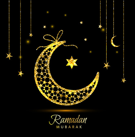 Ramadan Kareem celebration greeting card decorated with moons and stars Ilustração