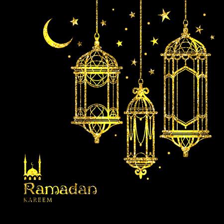 Greeting Card Ramadan Kareem design with lamps, moon and stars. Vector illustration.
