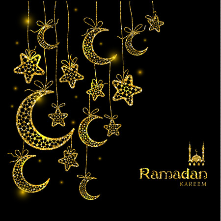 Ramadan Kareem celebration greeting card decorated with moons and stars on dark background. Vector illustration.