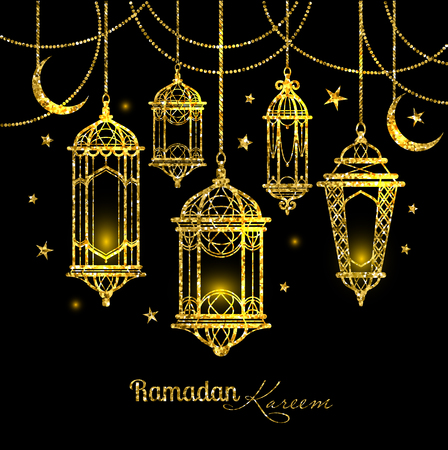 Greeting Card for Ramadan Kareem design with lamps and moons.