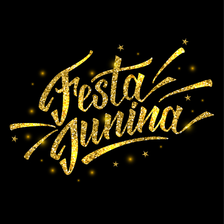 Hand drawn logotype for Festa Junina festival of Brasil in gold