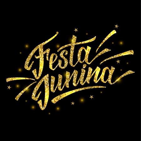 Hand drawn logotype for Festa Junina festival of Brasil in gold