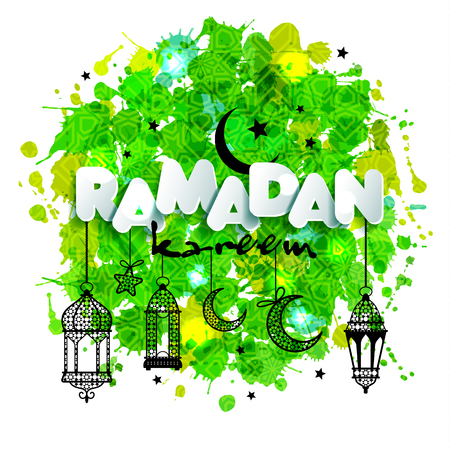 Paper text Ramadan for congratulations with muslim celebration and lanterns. Backgrounds of hand drawn blots. Illustration