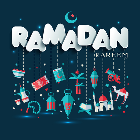 Ramadan Kareem greting illustration of Ramadan celebration.