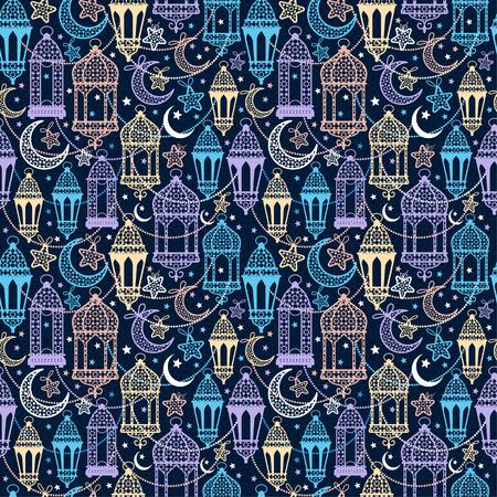 A Seamless pattern of Ramadan Kareem lanterns. Happy Ramadan background celebration.