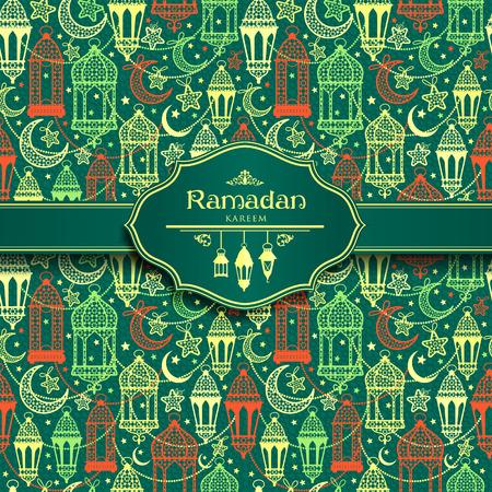 Seamless pattern of Ramadan Kareem lanterns. Happy Ramadan background celebration.
