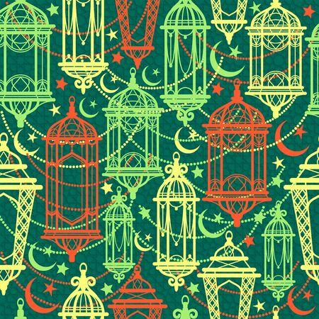 Seamless pattern of Ramadan Kareem lanterns.
