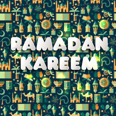 Ramadan Kareem icons set of Arabian.Seamless pattern. Sign Ramadan Kareem in paperstyle. 版權商用圖片 - 95444791