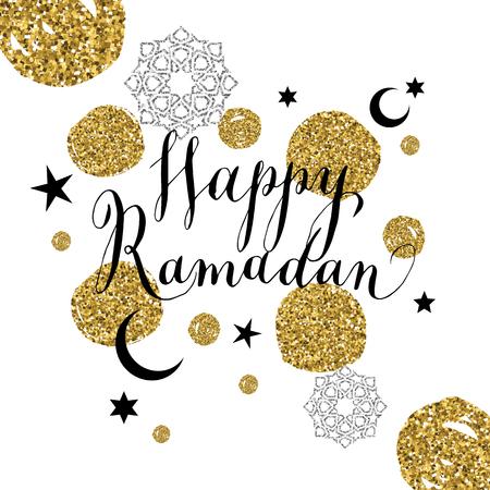 Happy Ramadan illustration with celebration symbol of Ramadan.