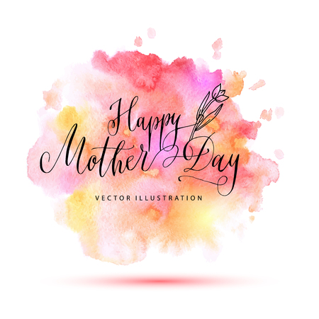Happy mother day vector watercolor card. Illustration