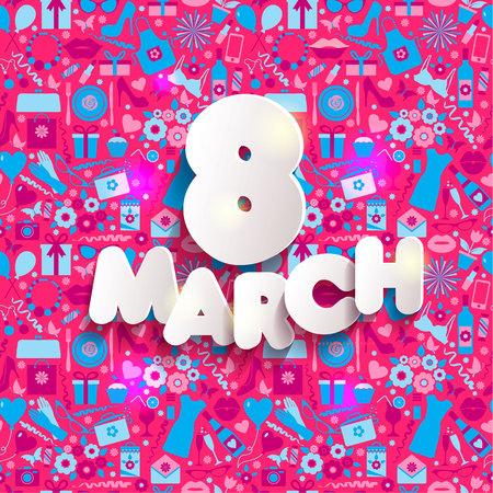 아이콘의 3 월 8 일 벡터 카드입니다.