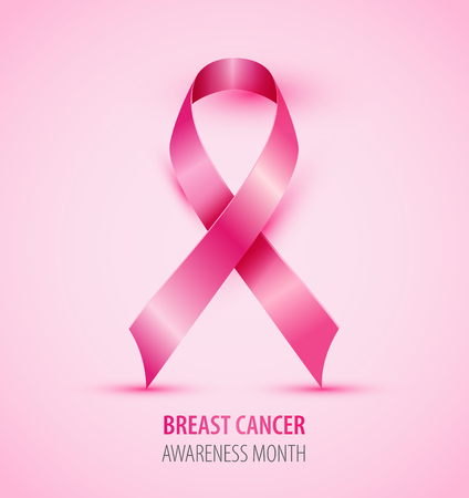 Realistic pink ribbon breast cancer awareness isolated symbol