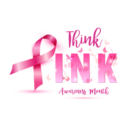 Breast cancer awareness concept illustration pink ribbon symbol, pink watercolor blots with text think pink. Vector hand drawn illustration.