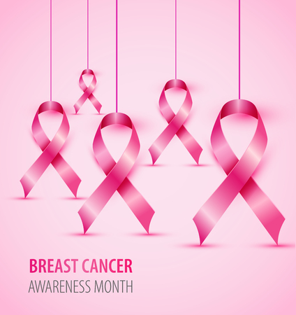 Breast cancer awareness concept illustration pink ribbon symbol. Фото со стока - 95585026