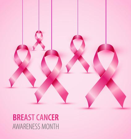 Breast cancer awareness concept illustration pink ribbon symbol.