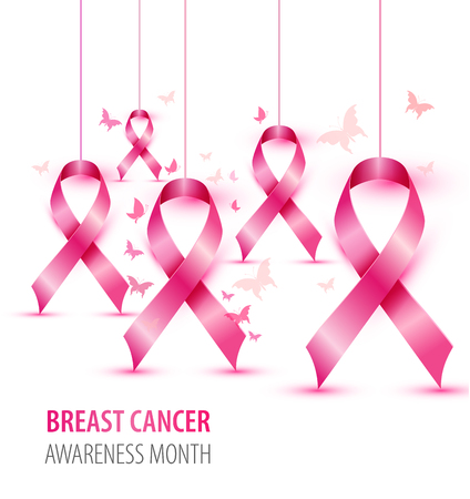 Breast cancer awareness concept illustration pink ribbon symbol, pink watercolor blots with realistic ribbons.