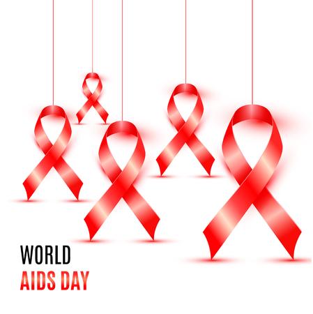 빨간 리본 배너 디자인으로 세계 에이즈의 날 일러스트