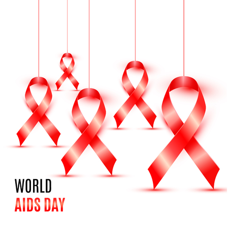 World aids day with red ribbon banner design