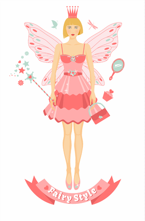 Fairy tail person with wings Illustration