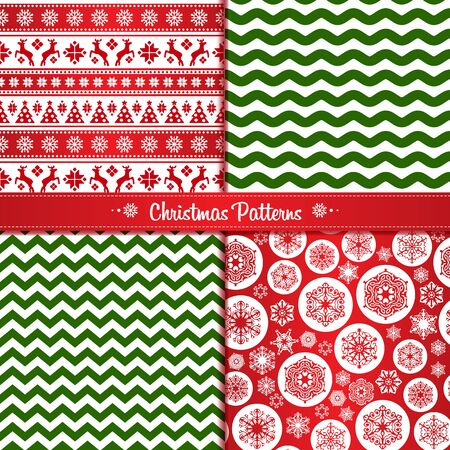Set Christmas seamless patterns of red and green with reindeer and snowflakes