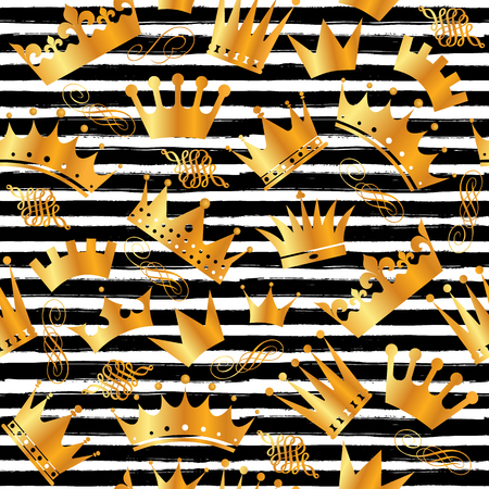 Golden glitter texture with hand draw black lines seamless pattern in gold style. Celebration metallic background. Illustration