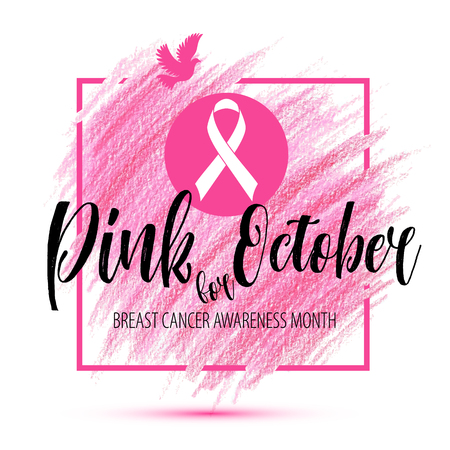 Breast Cancer Awareness Month Vector Ribbon imitation of hand drawn background Illustration