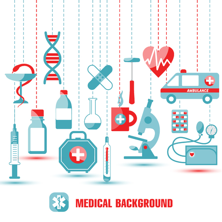 Medical icon set. Illustration of icons in flat design. Çizim