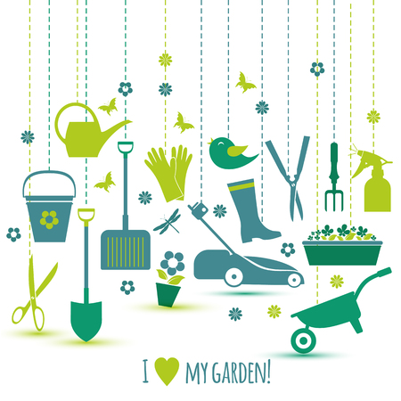Garden tools set. Spring illustration of icons.
