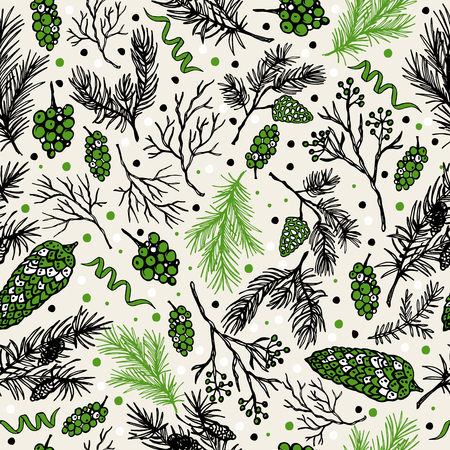 Christmas seamless pattern with christmas cones and plants