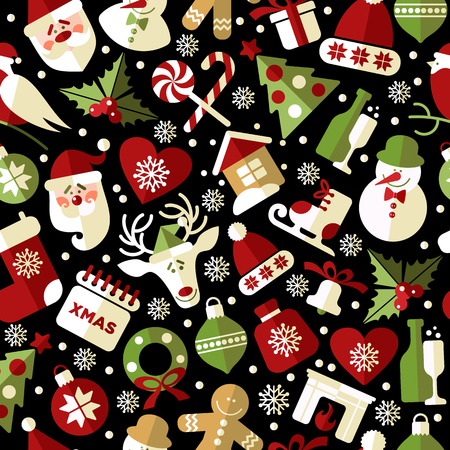 Christmas seamless pattern of icons on black background in flat style.