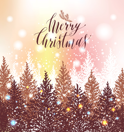 Hand drawn Christmas card. New year trees with snow.Vector design illustration. Calligraphic text Merry Christmas on light background. Ilustração