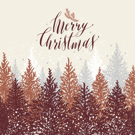 Hand drawn Christmas card. New year trees with snow. Vector design illustration. Calligraphic text Merry Christmas on white background. Illustration