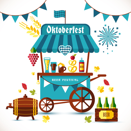 Beer festival illustration of tent with goods.
