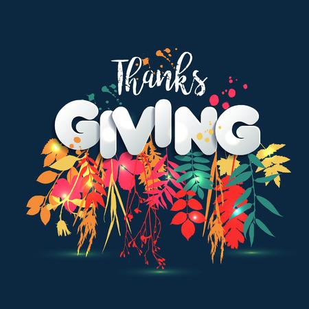 書道手描きのスタイルと紙のスタイルで幸せな感謝祭の日。秋の秋のスタイル。