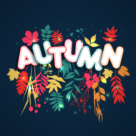 Text autumn in paper style on multicolor background with autumn leaves. Hand drawn grunge blots elements.